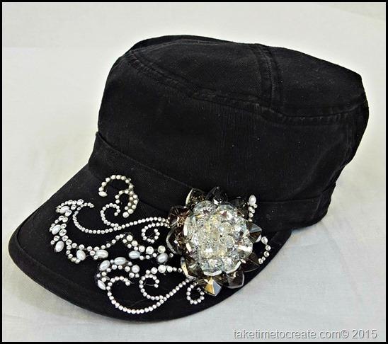 black cadet hat side view