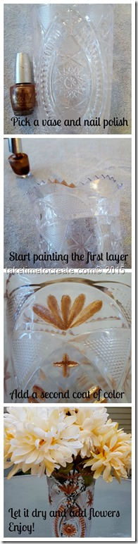 Paint a plastic vase with nail polish