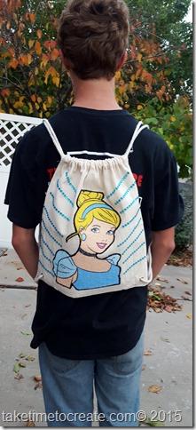 diy Cinderella magic towel drawstring bag