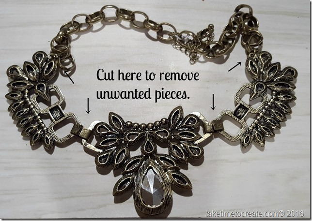 Altered necklace cutting instructions