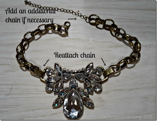 altered necklace reattached instructions