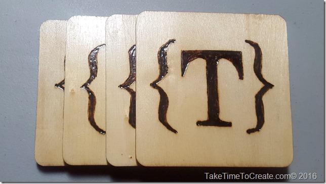 monogram wood burn coaster